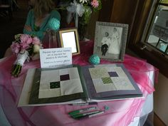Spray glue quilt squares into a guest book. Make copies of them and place them back into the book for a record.  Now make your quilt with the originals.