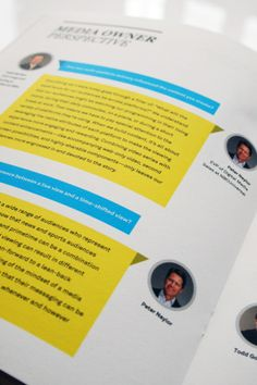 Cool way to design a Q and A  IPG Media Economy Report Vol.3 by Martin Oberhäuser, via Behance