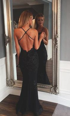 Backless lace prom dresses, Sexy mermaid prom dress, Lace prom dress, dresses for prom, beautiful prom dress,Braces prom dress