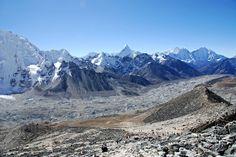 View from Kala Pattar of Khumbu Glacier, Pokalde peak & the pyramid of Ama Dablam