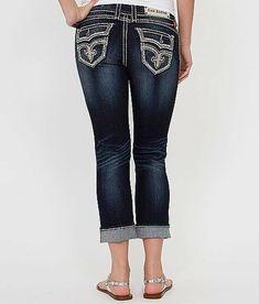 Rock Revival Jeans Mid Rise Khaki Cargo Cropped Capri Pants 24 27 NWT//DEFECT