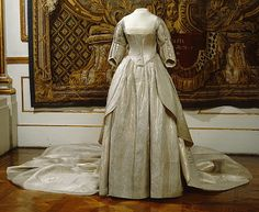 Wedding Dress and Train: 1797, Swedish. Worn at the wedding of Fredrika Dorotea Vilhelminas on October 31, 1797.