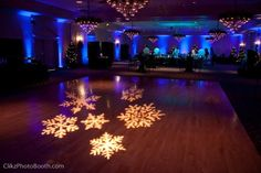 Amazing setup with #snowflakes #gobo #monogram at this #uplighting #wedding #reception! #diy #diywedding #weddingideas #weddinginspiration #ideas #inspiration #rentmywedding #celebration #weddingreception #party #weddingplanner #event #planning #dreamwedding by #clikzphotobooth