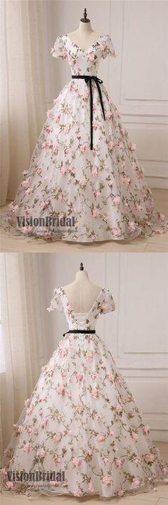 Floral V-neck Half Sleeves Prom Dress, Lace Up Prom Dress, Hot Sale Prom Dress With Sash, VB071 #promdress