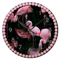 Flamingoes on black large clock