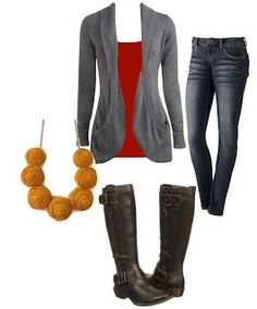 dark skinny jeans, red shirt, gray cardigan, boots and mustard jewelry