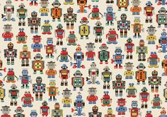 Robots | Drawn up based on our collection of vintage tin robot toys picked up at antiques fairs, Robots print brims with colour and character | Cath Kidston AW15 |