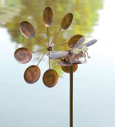 Solar Dragonfly Wind Spinner And Whirligig  http://www.windandweather.com/Best-Selling-Yard-and-Patio/Dancing-Leaves-Iron-Wind-Spinner.htm