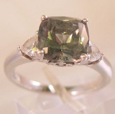 $24.99 Vintage Green Amethyst & CZ Sterling Silver Ring Size 7.25 by BrightEyesTreasures on Etsy