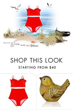 """""""Red Bikini contest"""" by cardigurl ❤ liked on Polyvore featuring Judith Leiber"""