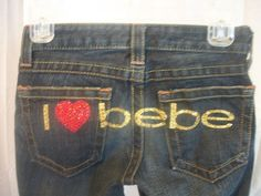 I Love BEBE Jeans - Sz 24 S/XS Petite - Add a splash of glitter to your casual wardrobe - http://stores.ebay.com/Classy-Fashions-and-Accessories?_rdc=1