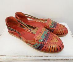 Vintage Mexican Colorful Leather Huarache Sandals Shoes 11 M 9d4af6654d8a7