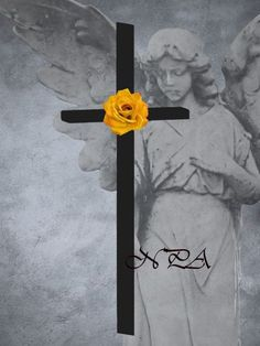 Cross with Yellow Rose against Surreal by nicolphotographicart