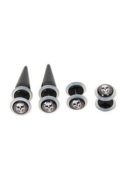 Black skull faux taper and plug 4 pack  -hottopic.com  #blackskull #fauxtaper #fauxplugs #hottopic #fauxbodyjewelry