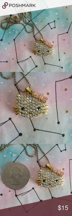 Hello Kitty gold Crystal necklace Hello Kitty Crystal necklace Hello Kitty Jewelry Necklaces
