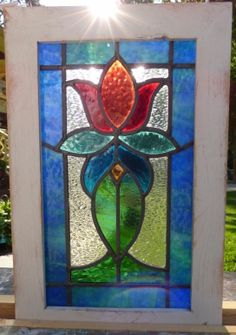 victorian tulip 2 leaded stained glass window