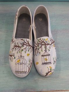 Intricate Hand Drawn Vintage Birdcage Decorated Womens Canvas Flats/Canvas Shoes (Slip On Vans Style)