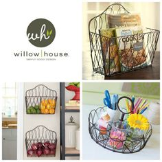 Love these wire baskets.  This would be a great space saver by hanging your cookbooks on the wall in the kitchen.  You could use these baskets for so-o-o-o many things!