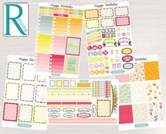 Pinning for later! These stickers are perfect. Available at Crafted By Corley on Etsy. Happy Birthday Weekly Planner Kit - Weekly Stickers Planner Stickers Weekly View Planner for use with ERIN CONDREN LifePlanners by CraftedByCorley