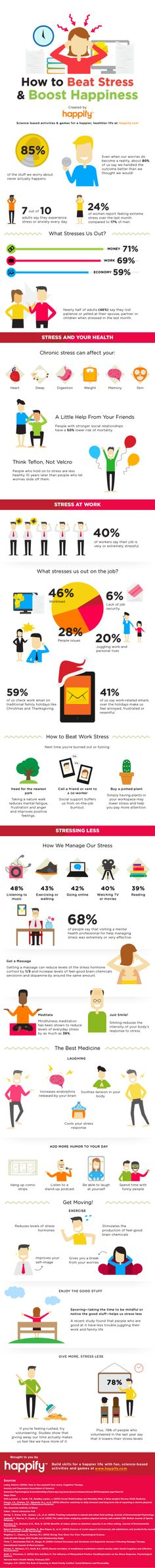 How to boost happiness and beat stress infographic