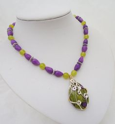 Wire Wrapped Jasper and Jade Necklace Statement by evecollection