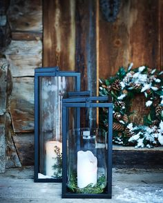 Mountain Cottage, Rustic Lanterns, Mountain Modern, Christmas Candles, Christmas Decor, Country Christmas, White Christmas, Modern Rustic, Decorating Your Home