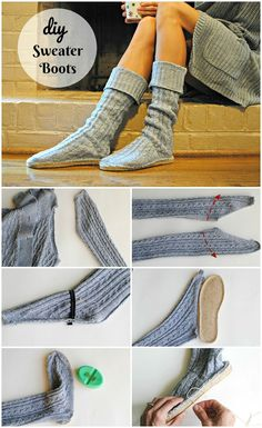 Trash To Couture: DIY Upcycled Sweater Boots - sewing/clothes/purse Diy Sweatshirt, Diy Pullover, Pullover Upcycling, Sweater Refashion, Shoe Refashion, Old Sweater, Sweater Boots, Upcycled Sweater, Sweaters