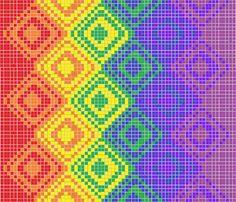 Rainbow Blanket Pattern.  Block: C2C 10x10 Row Color: 2A 3B 2A 1B 2A 1C 1A 2C 2A 3C  Slightly Asymmetrical.