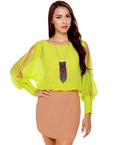 Cuff-ee Liqueur Neon Yellow and Beige Dress, LuLu's