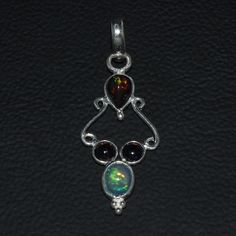 925 STERLING SILVER NATURAL ETHIOPIAN WELO FIRE BLACK OPAL PENDANT JEWELRY  113