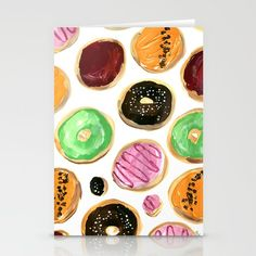 Colorful donuts Stationery Cards