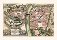 ANTIQUE PRAGUE MAP Map of Prague by EncorePrintSociety on Etsy