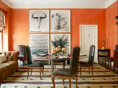 Book Review Tom Scheerer Decorates Orange Dining Room Interiordesign