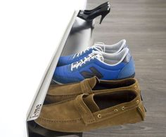 Horizontal Shoe RackTurn any wall in your home into an impromptu shoe closet with the horizontal shoe rack. The unique, minimalist design of the shoe rack allows you to store shoes horizontally – and most importantly, off the dirty floor.