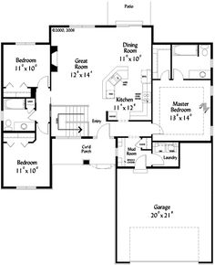 First Floor Plan of Ranch   House Plan 71667