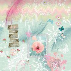 Tapetenwandbild \'Gypsy Soul\' mint/koralle - 200x300cm