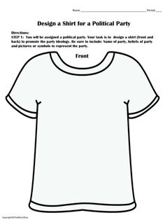 Political Parties – Create a T-Shirt Activity This is a fun activity in which students create T-shirts of American political parties. A brief summary of 49 minor (third) political parties are include. Assign each student a political party and then have the students rotate their T-shirts around the room. This will give students an understanding the ideology of minor parties. To assess their knowledge, students will complete a few review questions.