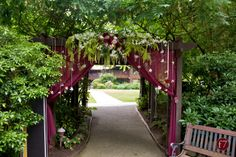 The inclusion of plum shaded fabric on the arbor, with babies breath accents would be very unexpected.  Perhaps we can accent with burlap tiebacks and lace pickups.