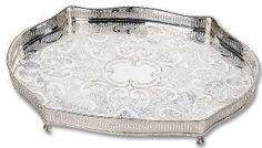 Reed and Barton Footed Oblong Gallery Tray Silver Trays, Silver Plate, Bering, Reed & Barton, Engraved Gifts, Antique Gold, Sterling Silver, Gallery, Flatware