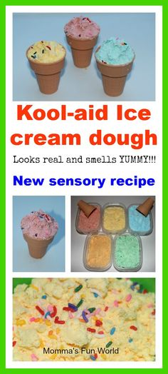 Momma's Fun World: Kool-Aid Ice cream dough new sensory play