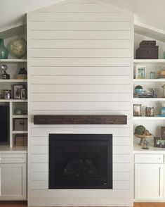 Image result for linear fireplace on ship lap wall