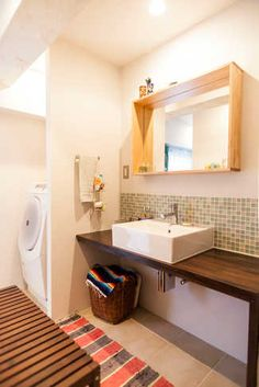 洗面所5 Laundry Room Bathroom, Bathroom Toilets, Washroom, Condo Design, House Design, Interior Decorating, Interior Design, Japanese House, Home Reno