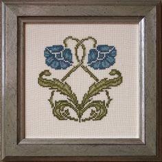 Art Nouveau poppies cross stitch