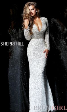 deep V neck long sleeved gown by sherri hill