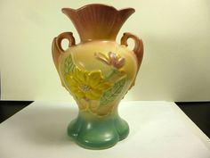 VINTAGE HULL POTTERY #4-6 1/4 MAGNOLIA MATTE PINK,YELLOW,GREEN DECOR VASE 6 1/2""