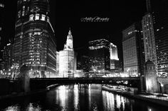 Heart Of Chicago, Downtown Chicago, Fine Art Photography, Black and White, Night Time, The City Life