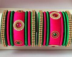 Silk Thread Bangles Set of 14 - Pink & Green Color