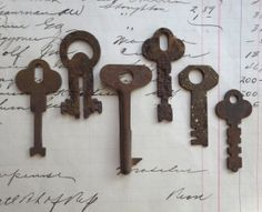 6 vintage keys primitive and rustic keys. flat by anythinggoeshere, $12.00