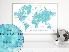 World map digital 1930s printable pastel color image 300dpi custom quote printable watercolor world map with countries us states canadian provinces gumiabroncs Image collections