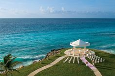 Dreams Cancun Resort & Spa.  The breathtaking wedding gazebo, situated at the very tip surrounded by the turquoise water on all three sides.
